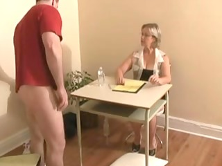 Handjob ends with cumshot by big tittied blonde