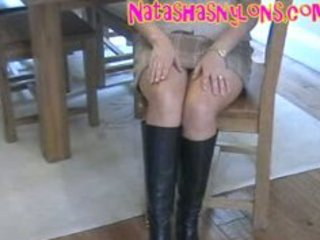 lustful sexy hose mommy in dark leather boots