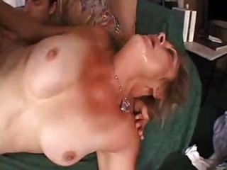 perverted granny is her stocking acquires a big
