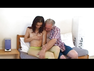 small tittted beauty receives fucked by grandpapa