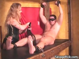 sexy darksome leather golden-haired d like to