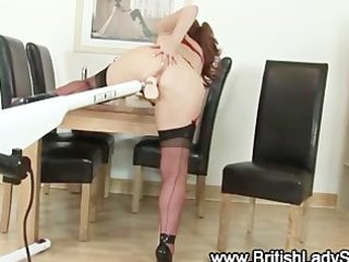 aged brit in nylons receives off