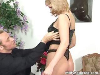 great blonde milf sucks hard cock