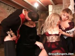 Group sex action with three milfs who