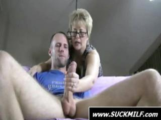 chap acquires caught by blond milf who finishes