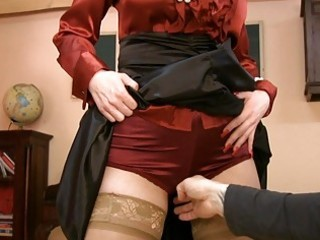 mother i in glasses and satin nylons gets nasty