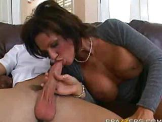 breasty aged is sucking and fucking her way on