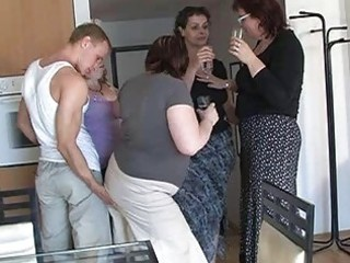 four sexually excited moms seduced cute guy to