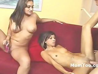 big tit mother and slender daughter fucked on a