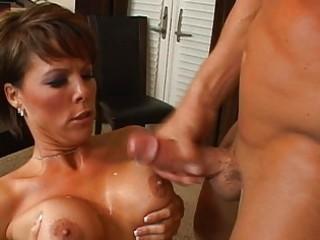 lustful brunette hair milf with big breasts