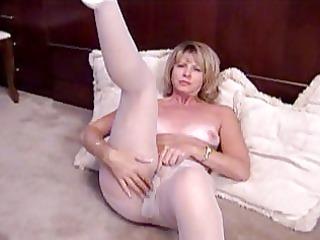 blond older masturbates in white pantyhose