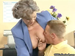 immodest old woman getting her bushy cookie