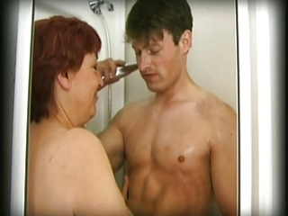 hairy granny finds a chap in her shower