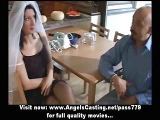 pleasant brunette hair bride doing oral sex