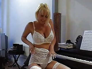 breasty golden-haired milf in hawt lace lingerie