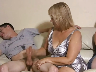 mother and daughter jerking guys off