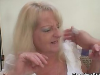 drunk blond granny in hot threesome orgy