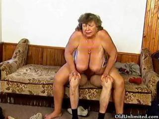 dirty grandma with large tits riding part11