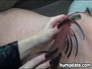 Wife gives teasing handjob with long fingernails