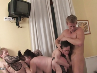 Mature Sex Party with 3 moms and 1 boy