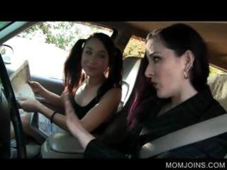 hawt mom and daughter talked into fucking