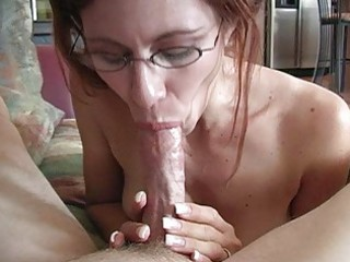 aged redhead momma with glasses doing deep throat