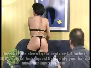 brunette in darksome underware fucking on ottoman