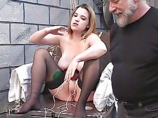 dd bondaged golden-haired in corset have to mount