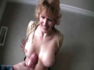 aged wife getting a big facial