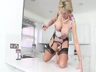 femdom british older bitch fucking a dildo