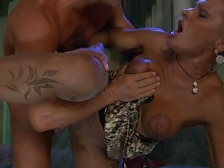 tanned blond milf in hose gets slammed doggy style