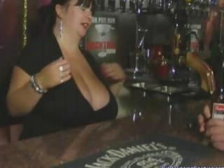 chunky british aged barmaid with huge bazookas