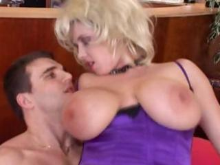 hot, busty older blonde receives a young jock to