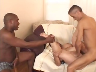 big beautiful woman-granny takes two fellows and