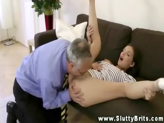 euro hottie acquires pussy sucked by old man