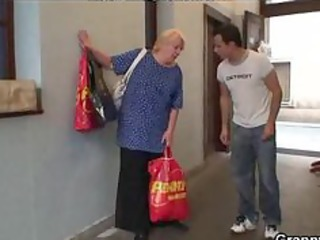 excited young chap bangs old blond woman aged
