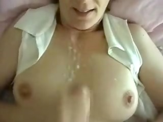 Horny wife private cumshot on tits