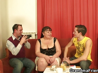 two funny fellows team fuck aged fatty