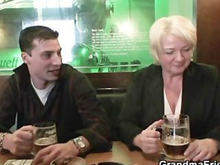 hot some with completely drunk granny