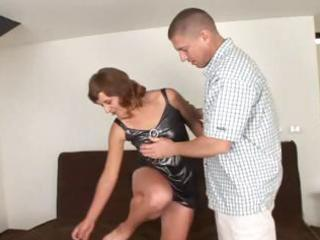aged dark brown with a hairy slit eats cock and