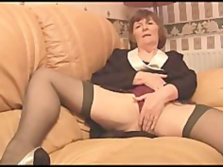 hirsute granny in stockings plays with pants then