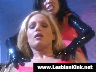 hot blonde and swarthy lesbians in latex rubbing