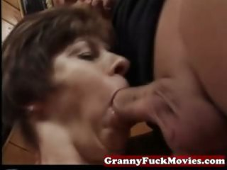 granny sucking and pounding hairy pussy