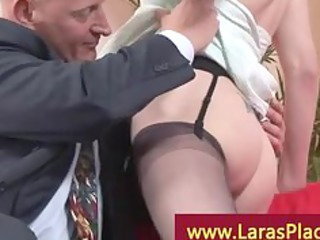 horny woman in stockings with a older lad receive