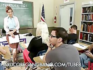teacher trapped in a hardcore team fuck