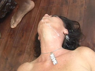 older hot and ready swallows threesome black dick