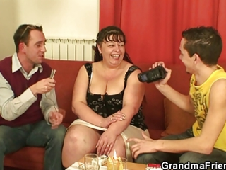 two studs gangbang obese mature slut
