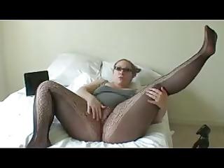 overweight girl in dark hose