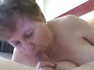 old granny sucks jock and he is cum in her face