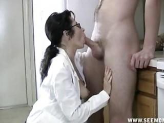milf with glasses receives throat full of cum